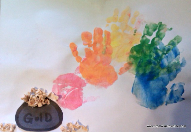 Handprint rainbow and a pot of gold!