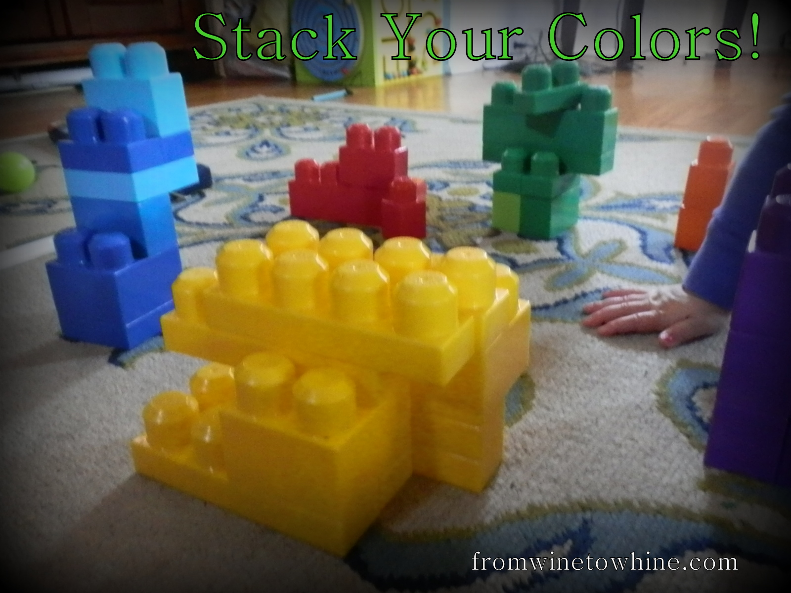 teach your kid colors with toys from around the house! (From Wine to Whine)